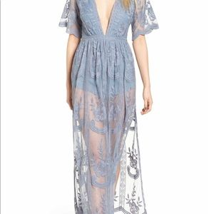 Socialite Lace Overlay periwinkle romper